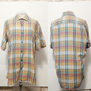 Jared Lang Short Sleeve Button Up Plaid 100% Linen